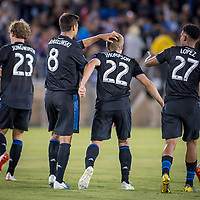 STANFORD, CA - JUNE 29: Chris Wondolowski #8, Tommy Thompson #22 during a Major League Soccer (MLS) match between the San Jose Earthquakes and the LA Galaxy on June 29, 2019 at Stanford Stadium in Stanford, California.