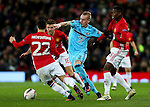 Rick Karsdorp of Feyenoord takes on Henrikh Mkhitaryan of Manchester United  during the UEFA Europa League match at Old Trafford, Manchester. Picture date: November 24th 2016. Pic Matt McNulty/Sportimage