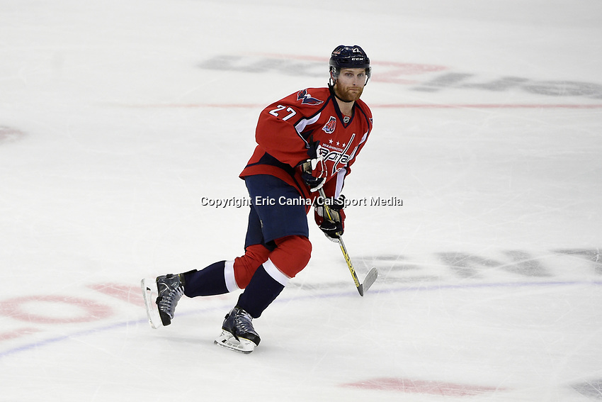 April 23, 2015 - Washington D.C., U.S. - Washington Capitals defenseman Karl Alzner (27) in game action during game 5 of the  NHL Eastern Conference Quarter finals between the New York Islanders and the Washington Capitals held at the Verizon Center in Washington DC.  The Capitals defeat the Islanders 5-1 in regulation time to take the lead in the 7 game series 3-2. Eric Canha/CSM