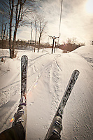 Skiing at Marquette Mountain in Marquette Michigan on Michigan's Upper Peninsula shot point of view.