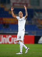 Calcio, Europa League, Gguppo E: Roma vs Austria Vienna. Roma, stadio Olimpico, 20 ottobre 2016.<br /> Austria Wien's Raphael Holzhauser celebrates after scoring during the Europa League Group E soccer match between Roma and Austria Wien, at Rome's Olympic stadium, 20 October 2016. The game ended 3-3.<br /> UPDATE IMAGES PRESS/Isabella Bonotto