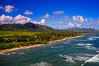 Aerial view from the Pacific Ocean of eastern Kaua'i, including the Kaha Lani Resort, the Sleeping Giant and the coastline up to Wailua and Kapa'a.