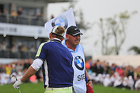 Marcel Siem (GER) with caddy Guy Tilston wins the tournament after a playoff hole at the end of Sunday's Final Round of the 2014 BMW Masters held at Lake Malaren, Shanghai, China. 2nd November 2014.<br />