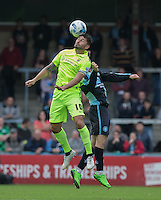 Billy Paynter of Hartlepool United wins the ball in the air during the Sky Bet League 2 match between Wycombe Wanderers and Hartlepool United at Adams Park, High Wycombe, England on 5 September 2015. Photo by Andy Rowland.