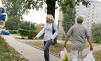 Walking is one of the main forms of transportation in Poland. Balucki District Lodz Central Poland