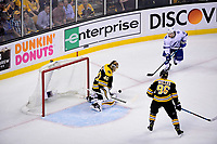 May 2, 2018: Boston Bruins goaltender Tuukka Rask (40) makes a save as Tampa Bay Lightning center Brayden Point (21) watches for the rebound during game three of the second round of the National Hockey League's Eastern Conference Stanley Cup playoffs between the Tampa Bay Lightning and the Boston Bruins held at TD Garden, in Boston, Mass. Tampa Bay defeats Boston 4-1. Eric Canha/CSM