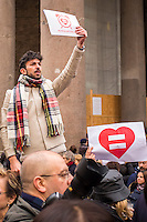 Roma, 23/01/2016 - in vista della discussione al Senato del ddl Cirinnà sulle unioni civili, la mobilitazione delle associazioni lgbt che vede massiccia partecipazione di persone che manifestano la necessità di un riconoscimento giuridico e la piena dignità delle unioni delle persone dello stesso sesso e delle coppie di fatto - Rome, 23th January 2016 - in view of discussion in the Senate of the Cirinnà's bylaw regarding civil unions, the mobilization of the LGBT associations that sees massive participation of people manifesting the need for a juridical recognition and the full dignity of the unions of persons of the same sex and for unmarried couples.