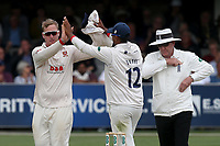 Simon Harmer of Essex celebrates taking the wicket of Matt Fisher during Essex CCC vs Yorkshire CCC, Specsavers County Championship Division 1 Cricket at The Cloudfm County Ground on 7th July 2019