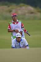 Hideki Matsuyama (JPN) lines up his putt on 1 during round 4 of the AT&T Byron Nelson, Trinity Forest Golf Club, at Dallas, Texas, USA. 5/20/2018.<br /> Picture: Golffile | Ken Murray<br /> <br /> All photo usage must carry mandatory copyright credit (© Golffile | Ken Murray)
