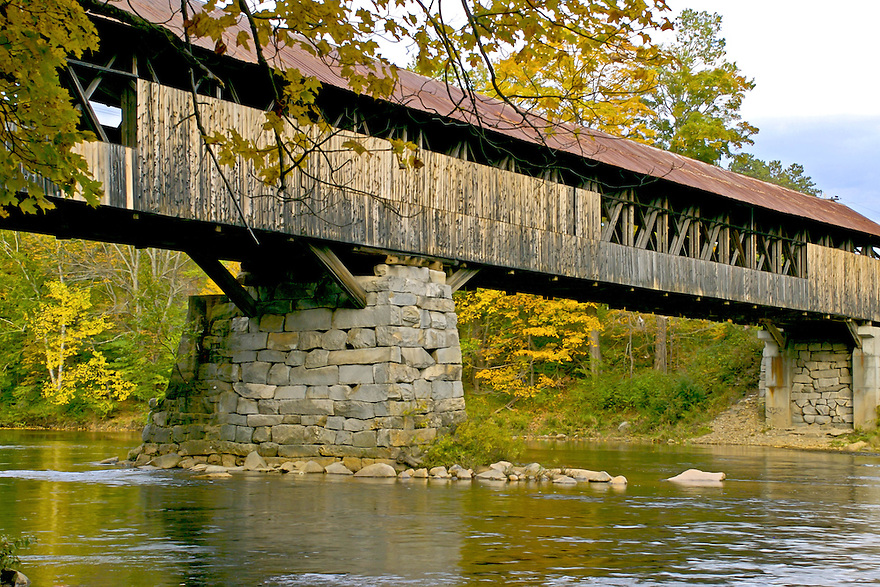 Blair Covered Bridge, spanning the Pemigewasset River, sits in a picturesque setting and is highly photogenic in autumn.