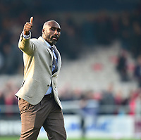 Macclesfield Town manager Sol Campbell applauds the fans at the final whistle<br /> <br /> Photographer Andrew Vaughan/CameraSport<br /> <br /> The EFL Sky Bet League Two - Lincoln City v Macclesfield Town - Saturday 30th March 2019 - Sincil Bank - Lincoln<br /> <br /> World Copyright © 2019 CameraSport. All rights reserved. 43 Linden Ave. Countesthorpe. Leicester. England. LE8 5PG - Tel: +44 (0) 116 277 4147 - admin@camerasport.com - www.camerasport.com