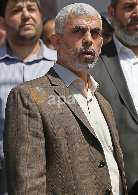 Yahya Sinwar, the new leader of Hamas in the Gaza Strip attends a press conference in Gaza City on May 11, 2017, in which the group announced the arrest of the suspected murderer of one of its key military commanders, Mazen Faqha, who was shot dea don March 24, 2017 near his home in Gaza City. No details were provided on the suspect's identity, though Hamas has previously suggested Palestinian collaborators worked with Israel on the assassination. Photo by Ashraf Amra