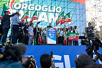 """Silvio Berlusconi MEP (Media tycoon, four times Prime Minister of Italy, leader of Forza Italia party).<br /> <br /> Rome, 19/10/2019. Today, tens thousands of people (200,000 for the organisers, 50,000 for the police) gathered in Piazza San Giovanni to attend the national demonstration """"Orgoglio Italiano"""" (Italian Pride) of the far-right party Lega (League) of Matteo Salvini. The demonstration was supported by Silvio Berlusconi's party Forza Italia and Giorgia Meloni's party Fratelli d'Italia (Brothers of Italy, right-wing).  <br /> The aim of the rally was to protest against the Italian coalition Government (AKA Governo Conte II, Conte's Second Government, Governo Giallo-Rosso, 1.) lead by Professor Giuseppe Conte. The 66th Government of Italy is a coalition between Five Star Movement (M5S, 2.), Democratic Party (PD – Center Left, 3.), and Liberi e Uguali (LeU – Left, 4.), these last two parties replaced Lega / League as new members of a coalition based on Parliamentarian majority as stated in the Italian Constitution. The Governo Conte I (Conte's First Government, 5.) was 14-month-old when, between 8 and 9 of August 2019, collapsed after the Interior Minister Matteo Salvini withdrew his euroskeptic, anti-migrant, right-wing Lega / League (6.) from the populist coalition in a pindaric attempt (miserably failed) to trigger a snap election.<br /> <br /> Footnotes & Links:<br /> 1. http://bit.do/feK6N<br /> 2. http://bit.do/e7JLx<br /> 3. http://bit.do/e7JKy<br /> 4. http://bit.do/e7JMP<br /> 5. http://bit.do/e7JH7<br /> 6. http://bit.do/eE7Ey<br /> https://www.leganord.org<br /> http://bit.do/feK9X (Source, TheGuardian.com)<br /> Reportage: """"La Fabbrica Della Paura"""" (The Factory of Fear): http://bit.do/feLcy (Source Report, Rai.it - ITA)<br /> (Update) Reportage: """"La Fabbrica Social Della Paura"""" (The Social Network Factory of Fear): http://bit.do/fe8Pn (Source Report, Rai.it - ITA)"""