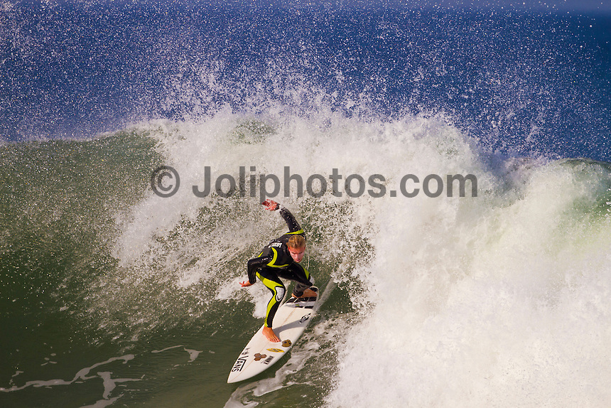 Friday July 9, 2010. Tanner Gudauskas (USA).  Free surfing at Jeffreys Bay, Eastern Cape, South Africa.  The swell is in the 5'-6' range with a howling north west devil wind. Photo: joliphotos.com