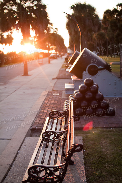 Charleston Battery Sunset Cannons and Park Bench with a shallow depth of field
