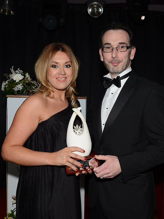 Ruth McKenny of Fuschia receives the SME Business award from Ken Rooney representing sponsor AIB at the Business Excellence Awards in Earth Night Club at the Westcourt Hotel. Photo:Colin Bell/pressphotos.ie