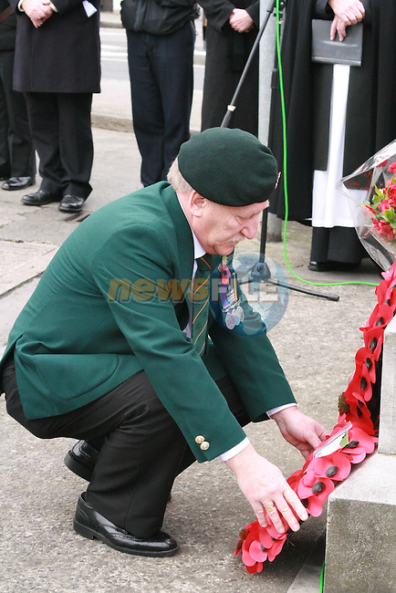 Poppy wreaths are placed at the World war One Commemoration, Mary Street, Drogheda....Photo NEWSFILE/Jenny Matthews.(Photo credit should read Jenny Matthews/NEWSFILE)....This Picture has been sent you under the condtions enclosed by:.Newsfile Ltd..The Studio,.Millmount Abbey,.Drogheda,.Co Meath..Ireland..Tel: +353(0)41-9871240.Fax: +353(0)41-9871260.GSM: +353(0)86-2500958.email: pictures@newsfile.ie.www.newsfile.ie.FTP: 193.120.102.198.