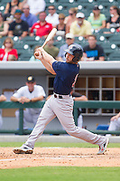 Blake Swihart (2) of the Pawtucket Red Sox follows through on his swing against the Charlotte Knights at BB&T Ballpark on August 8, 2014 in Charlotte, North Carolina.  The Red Sox defeated the Knights  11-8.  (Brian Westerholt/Four Seam Images)