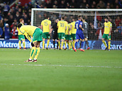 1st December 2017, Cardiff City Stadium, Cardiff, Wales; EFL Championship Football, Cardiff City versus Norwich City; Josh Murphy of Norwich City looks dejected as Norwich City give away a second penalty