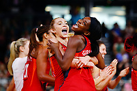 Jodie Gibson and Helen Housby of England celebrate after winning against New Zealand. Gold Coast 2018 Commonwealth Games, Netball, New Zealand Silver Ferns v England, Gold Coast Convention and Exhibition Centre, Gold Coast, Australia. 11 April 2018 © Copyright Photo: Anthony Au-Yeung / www.photosport.nz /SWpix.com
