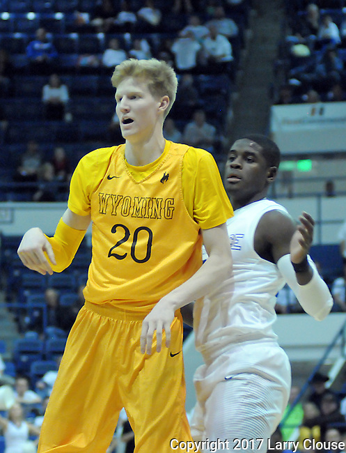 February 4, 2017:  Wyoming forward, Hayden Dalton #20, in action during the NCAA basketball game between the Wyoming Cowboys and the Air Force Academy Falcons, Clune Arena, U.S. Air Force Academy, Colorado Springs, Colorado.