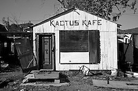 Kactus Kafe in Ed's Camp along Route 66 between Kingman and Oatman. Ed's Camp had all the amenities needed for the Route 66 traveler of the day. In addition to the open air trading post there was the Kactus Cafe where you could get a meal, a Texaco gas station to refuel your fuel tanks, cabins, and spots to set up a tent and camp for the night if you so desired.