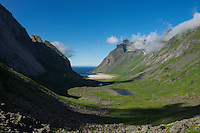 Summer view towards Horseid beach, Moskenesøy, Lofoten Islands, Norway