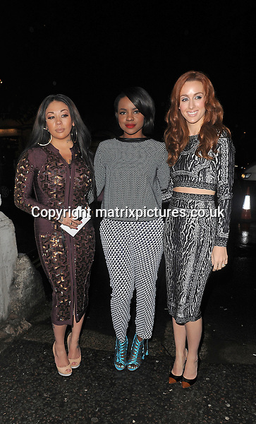 NON EXCLUSIVE PICTURE: PALACE LEE / MATRIXPICTURES.CO.UK<br /> PLEASE CREDIT ALL USES<br /> <br /> WORLD RIGHTS<br /> <br /> Siobhan Donaghy, Keisha Buchanan and Mutya Buena of British pop group &quot;Mutya Keisha Siobhan&quot; attending a show during S/S 2014 London Fashion Week.<br /> <br /> SEPTEMBER 13th 2013<br /> <br /> REF: LTN 136106