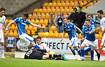 St Johnstone v Inverness Caley Thistle...08.08.15...SPFL..McDiarmid Park, Perth.<br /> Owain Fon Williams scrambles for the ball at the feet of Graham Cummins<br /> Picture by Graeme Hart.<br /> Copyright Perthshire Picture Agency<br /> Tel: 01738 623350  Mobile: 07990 594431