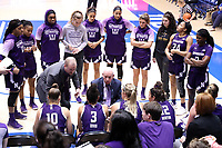 DURHAM, NC - NOVEMBER 17: Head coach Joe McKeown talks to his players during a timeout during a game between Northwestern University and Duke University at Cameron Indoor Stadium on November 17, 2019 in Durham, North Carolina.