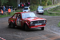 Philip Squires / Mick Squires at Junction 6, on Special Stage 1 Craigvinean in the Colin McRae Forest Stages Rally 2012, Round 8 of the RAC MSA Scotish Rally Championship which was organised by Coltness Car Club and based in Aberfeldy on 5.10.12.