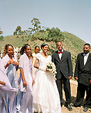 ERITREA, Asmara, an Eritrean couple and their wedding party in Asmara