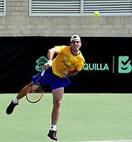 BARRANQUILLA - COLOMBIA,  02-04-2018: Guilherme Clezar (BRA) entrena previo a los juegos entre Colombia y Brasil por la segunda ronda del Grupo I de la Zona Americana de la Copa Davis por BNP Paribas 2018 a disputarse entre el 6 y el 7 de abril de 2018 en la ciudad de Barranquilla, Colombia. / Guilherme Clezar (BRA) trains prior to games between Colombia and Brazil in the second round of Group I of the American Zone Davis Cup by BNP Paribas 2018 to be played between 6 and 7 April 2018 in the city of Barranquilla, Colombia  Photo: VizzorImage/ Alfonso Cervantes / Cont