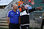 31 May 2014: Tampa Bay head coach Ricky Hill (ENG) (right) with Carolina head coach Colin Clarke (NIR) (left). The Carolina RailHawks played the Tampa Bay Rowdies at WakeMed Stadium in Cary, North Carolina in a 2014 North American Soccer League Spring Season match. Carolina won the game 2-0.