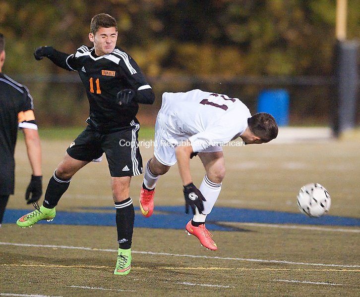 WATERBURY, CT--OCTOBER 27 2014. Watertown's Brandon Hima (11) and Naugatuck's Joe Martins (11) collide while both going for the ball during their NVL soccer championships semi-final game Monday at Municipal Stadium in Waterbury. <br /> Jim Shannon Republican American