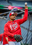 23 May 2017: Washington Nationals Assistant Hitting Coach Jacque Jones tosses warm-ups prior to a game against the Seattle Mariners at Nationals Park in Washington, DC. The Nationals defeated the Mariners 10-1 to take the first game of their inter-league series. Mandatory Credit: Ed Wolfstein Photo *** RAW (NEF) Image File Available ***
