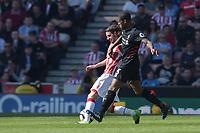 Stoke City's Joe Allen battles with  Liverpool's Georginio Wijnaldum<br /> <br /> Photographer Terry Donnelly/CameraSport<br /> <br /> The Premier League - Stoke City v Liverpool - Saturday 8th April 2017 - bet365 Stadium - Stoke-on-Trent<br /> <br /> World Copyright &copy; 2017 CameraSport. All rights reserved. 43 Linden Ave. Countesthorpe. Leicester. England. LE8 5PG - Tel: +44 (0) 116 277 4147 - admin@camerasport.com - www.camerasport.com