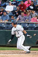 Drew Jackson (5) of the Everett AquaSox bats during a game against the Spokane Indians at Everett Memorial Stadium on July 24, 2015 in Everett, Washington. Everett defeated Spokane, 8-6. (Larry Goren/Four Seam Images)