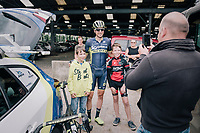 Jens Keukeleire (BEL/Orica Scott) pleasing some young fans before the race<br /> <br /> 2017 National Championships Belgium - Elite Men - Road Race (NC)<br /> 1 Day Race: Antwerpen &gt; Antwerpen (233km)