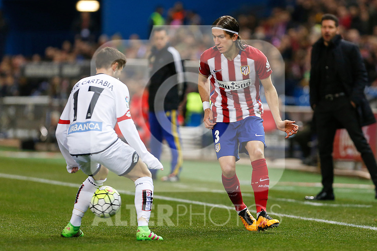 Atletico de Madrid´s Filipe Luis during 2015-16 La Liga match between Atletico de Madrid and Deportivo de la Coruna at Vicente Calderon stadium in Madrid, Spain. March 12, 2016. (ALTERPHOTOS/Victor Blanco)