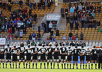 New Zealand sing the national anthem before the match during the International rugby match between New Zealand Secondary Schools and Suncorp Australia Secondary Schools at Yarrows Stadium, New Plymouth, New Zealand on Friday, 10 October 2008. Photo: Dave Lintott / lintottphoto.co.nz