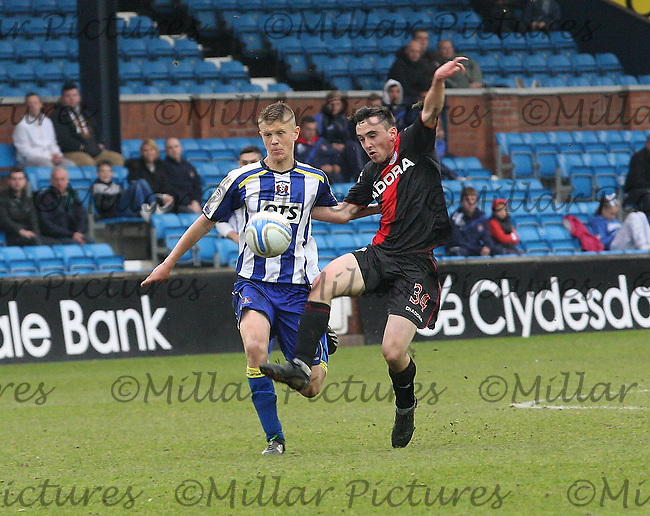 Anton Brady gets the better of Mark O'Hara in the Kilmarnock v St Mirren Clydesdale Bank Scottish Premier League match played at Rugby Park, Kilmarnock on 18.5.13.