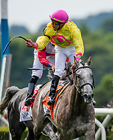 ELMONT, NY - JUNE 09: A Raving Beauty  #7, ridden by Irad Ortiz, Jr., wins the Longines Just a Game Stakes on Belmont Stakes Day at Belmont Park on June 9, 2018 in Elmont, New York. (Photo by Alex Evers/Eclipse Sportswire/Getty Images)