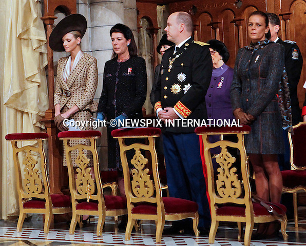 """Charlene Wittstock, Prince Albert II of Monaco, Princess Stephanie of Monaco and Caroline, Princess of Hanover.MONACO NATIONAL DAY 2010 (Fête Nationale Monégasque 2010).The Royal Family attended the traditional annual Thanksgiving Mass at the Cathedral of Our Lady Immaculate (Cathedrale Notre-Dame Immaculee) as part of Monaco's National Day celebrations. Monaco_19/11/2010..Mandatory Photo Credit: ©Newspix International..**ALL FEES PAYABLE TO: """"NEWSPIX INTERNATIONAL""""**..PHOTO CREDIT MANDATORY!!: NEWSPIX INTERNATIONAL(Failure to credit will incur a surcharge of 100% of reproduction fees)..IMMEDIATE CONFIRMATION OF USAGE REQUIRED:.Newspix International, 31 Chinnery Hill, Bishop's Stortford, ENGLAND CM23 3PS.Tel:+441279 324672  ; Fax: +441279656877.Mobile:  0777568 1153.e-mail: info@newspixinternational.co.uk"""