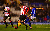 Ethan Robson of Sunderland battles with David Davis of Birmingham during the Sky Bet Championship match between Birmingham City and Sunderland at St Andrews, Birmingham, England on 30 January 2018. Photo by Bradley Collyer / PRiME Media Images.