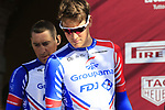 Stefan Kung (SUI) Groupama-FDJ at sign on in Fortezza Medicea before the start of Strade Bianche 2019 running 184km from Siena to Siena, held over the white gravel roads of Tuscany, Italy. 9th March 2019.<br /> Picture: Eoin Clarke | Cyclefile<br /> <br /> <br /> All photos usage must carry mandatory copyright credit (© Cyclefile | Eoin Clarke)