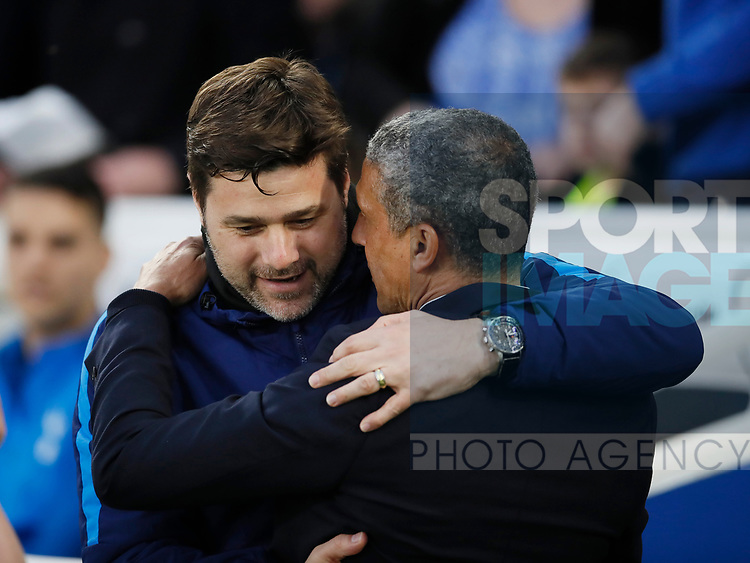 Chris Huyton Manager of Brighton greets Mauricio Pochettino manager of Tottenham during the premier league match at the Amex Stadium, London. Picture date 17th April 2018. Picture credit should read: David Klein/Sportimage