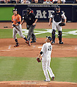 Masahiro Tanaka (Yankees), OCTOBER 6, 2015 - MLB : Houston Astros batter Colby Rasmus hits a solo home run as New York Yankees starting pitcher Masahiro Tanaka reacts in the second inning during the American League Wild Card Game at Yankee Stadium in New York, United States. (Photo by AFLO)