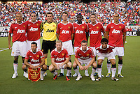 Manchester United lines up before a friendly match at Lincoln Financial Field in Philadelphia, Pennsylvania.  Manchester United defeated Philadelphia Union, 1-0.