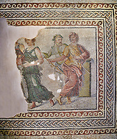 Roman mosaics - The Wedding of Dionysus mosaic. Dionysus Villa Ancient Zeugama, 2nd  century AD . Zeugma Mosaic Museum, Gaziantep, Turkey.<br /> <br /> <br /> The Wedding of Dionysus and Ariadne Mosaic, which belongs to the House of Dionysus, is one of the most special mosaics around the world. In the scene, Dionysus and Ariadne are sitting on a sofa. There are three maenads, musician, the wedding god and two sirens around them. <br /> <br /> The mosaic gives the impression of a painting due to the rich variety of colors and luminous/shadow effects used. The fact that there are many figures within the mosaic and their high pictorial quality, on the other hand, makes the mosaic much more special. <br /> <br /> The House of Dionysus is the villa where a rescue excavation was conducted in 1992 upon the received intelligence telling that traffickers had been digging the area. After the excavations, the mosaic now you behold was unearthed along with some geometric mosaics. In terms of the exactness in the anatomy of the figures, the perspective, and the rich variety of colors it is among the most precious and important mosaic around the world. <br /> <br /> <br /> The Museum had conducted activities in order to display the mosaic where it belongs and in a natural manner. However, such a big portion of the mosaic as two thirds was stolen by the historical artefact traffickers in 1998 from the place of display. The parts of the mosaic are not found yet. After the robbery, the remaining parts were transported to Gaziantep Museum and displayed after restoration. The stolen part of the mosaic was left blank. The searches continue in order to find the missing parts through the Interpol.